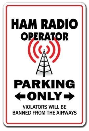 Vincentney New Tin Sign Ham Radio Operator Parking Sign Funny Amateur Qsl Call Shack Novelty Metal Sign Aluminum 12x16 INCH