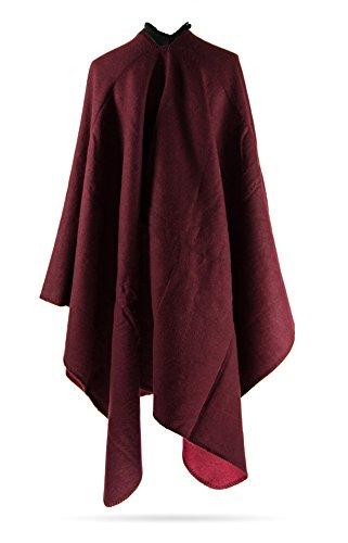 MANUMAR Ponchos für Damen | Cape in einfarbig bordeaux | Überwurf Cape | Umhang | Wendeponcho Perfektes Herbst/Frühling/Winter Accessoire ()