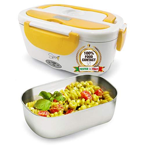 Spice amarillo inox scaldavivande portatile lunch box con vaschetta estraibile in acciaio inox giallo 40 w 1,5 litri