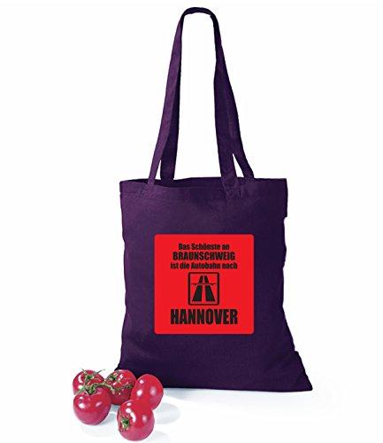 Artdiktat Baumwolltasche Das Schönste an Braunschweig ist die Autobahn nach Hannover schwarz plum
