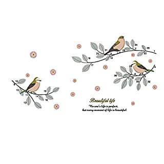 AWAKINK Cartoon Birds Flying on Trees Branches Pastoral Style Wall Stickers Wall Decal Vinyl Removable Art Wall Decals Bedroom Living Room Nursery Room Children's Bedroom