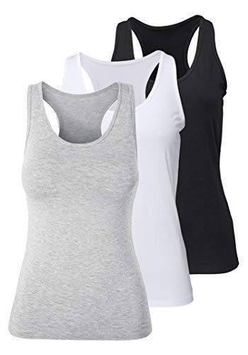 Racerback-bh Tank (Damen Sporttop Yoga Tanktop Unterhemd Ringerrücken Workout Laufen Fitness Funktions Shirt aus Feinripp mit Rundhals 3er-Pack, S, schwarz + weiß + grau)