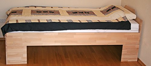 Einzelbett erhöhtes Holzbett Buche Massiv BV-VERTRIEB Komfortbett 100x200cm mit Liegehöhe 49cm – (2998)