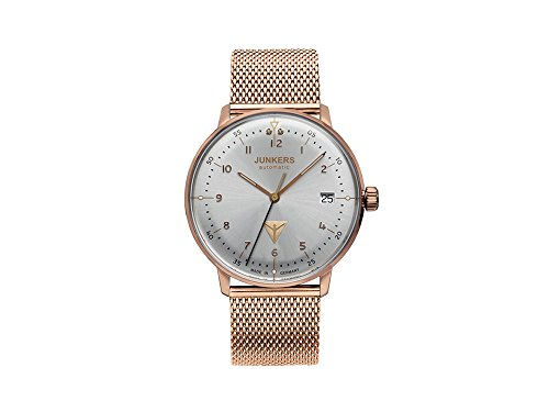 Junkers Bauhaus Lady Automatic Watch, PVD Rose Gold, Silver, 36 mm, 6069M-4