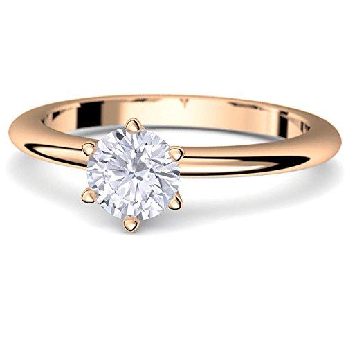 Rosegold Ring Verlobungsringe Rosegold (Silber 925 hochwertig vergoldet) von AMOONIC mit Zirkonia Stein +LUXUSETUI! Rosegoldring Zirkonia wie Diamant Echtschmuck wie Rotgold AM195VGRSZIFA50 (Rote Diamant-ring Weiss-gold)