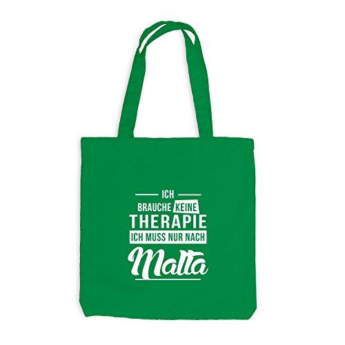 Jutebeutel - Ich Brauche Keine Therapie Malta - Therapy Mittelmeer Urlaub Kellygrün