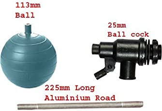 Shruti Ball Cock Set/Float Valve Set, Comes with Ball, Aluminium Road,and PVC Ball Cock - 25mm -(1293,1303,1287)