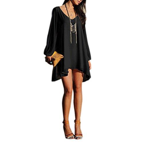 Chouette Robe Mini Femme Casual Col V Simple Uni Epaule Nue Style A Voyage Plage Noir