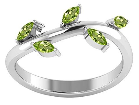 Banithani 925 Sterling Silver Wonderful Peridot Gemstone Ring New Indian Fashion Jewellery