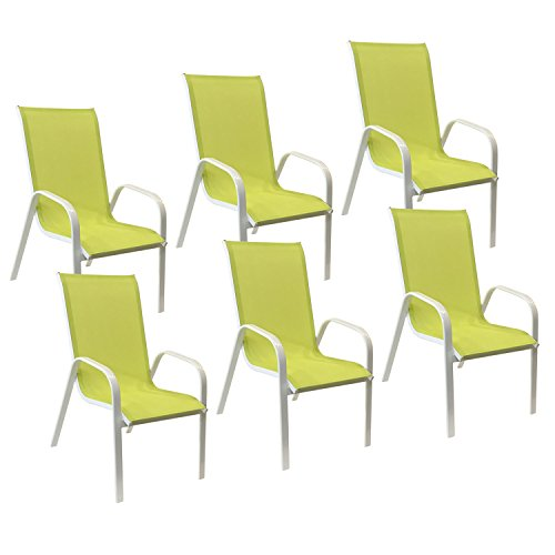 Happy Garden Lot de 6 chaises Marbella en textilène Vert - Aluminium Blanc