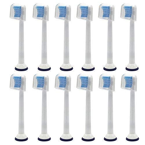 12 Stk. E-Cron Aufsteckbürsten mit Schutzkappen, Kompatibel Ersatbürsten für Philips Sonicare Sensitive Mini. Passend an mehreren elektrischen Zahnbürsten von Philips.