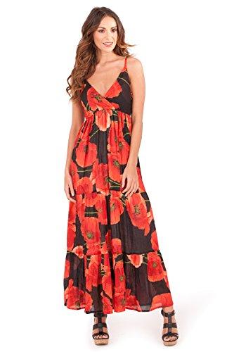 Vibrant 100%  coton pour femme Tropical Maxi robe à bretelles Idéal pour la plage, bleu ou vert Coquelicot rouge