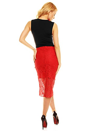 Design elegante gonna sweewe Paris' al ginocchio con bellissimo motivo orlatura Rosso