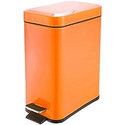 Bacs à Ordures Poubelle de couleur rectangulaire, poubelle à pédale de cuisine en acier inoxydable (Color : Orange)