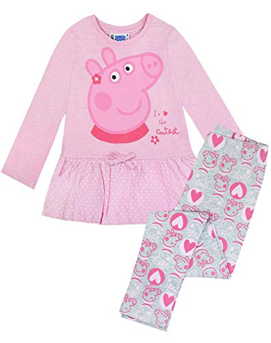 Peppa Pig - Set Leggings y Camiseta Modelo The Cutest para niñas (4-5 Años)