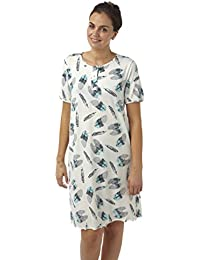 7cc296d60613a Indigo Sky Ladies Short Plus Size Jersey Nightdress. Ivory/Grey / Aqua  Feather Print. Sizes 20-22 24-26 28-30 32…