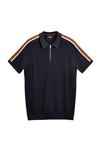next Herren Strick-Poloshirt mit Reißverschluss Marineblau S (Henley Top Shirt Flanell)