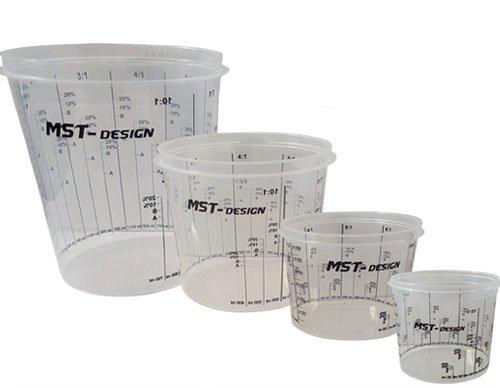 Preisvergleich Produktbild 200 x Lackmischbecher 750 ml (0, 75 L) I Einwegmischbecher I Messbecher Mischbecher von MST-Design I Anmischen von Farbe und Lack I Becher mit Skala I Lackieren Lack Lackierzubehör