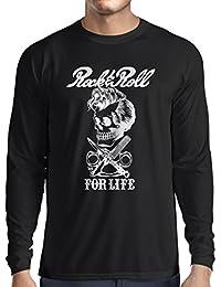 Camiseta de Manga Larga para Hombre Rock and Roll for Life - 1960s, 1970s, 1980s - Banda de Rock Vintage - Musicalmente - Vestimenta de Concierto