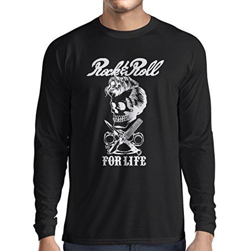 Maglietta a Manica Lunga da Uomo Rock And Roll for Life - Anni '60, 70, 80 - Band Rock Vintage - Musicamente - Abbigliamento da Concerto (Medium Nero Multicolore)