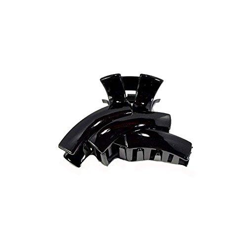 Pince Crabe A Cheveux - Plastique 9 cm - Noir Laque Brillant - Forme Moderne - Accessoire Coiffure