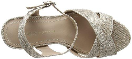 Dorothy Perkins Roxy Wedge, Escarpins Bout Ouvert Femme Gold (Metallic)