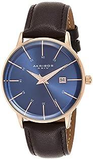 Akribos XXIV Mens Quartz Watch, Analog Display and Leather Strap AK1104RGBU-S