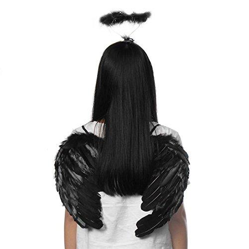 auykoop schwarz weiß Feder Dark Angel Fee Flügel Halo Fancy Kleid Party Foto Requisiten Gothic Kostüm Halloween Party Events Supplies schwarz