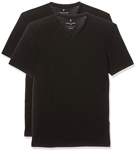 Pierre Cardin Herren T-Shirt V-Ausschnitt, 2er Pack Schwarz (Schwarz 2000)