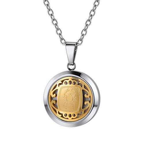 PROSTEEL Sternzeichen Krebs Sternbilder Anhänger Halskette Silber Golden Zweifarbig Horoskop Tierkreis Astrologie Halsschmuck mit 55cm Kette