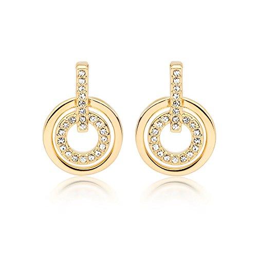 De círculos MYJS 16 K Classic Juego de pendientes de chapado en oro con cristales de Swarovski