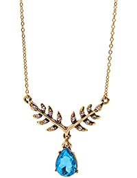 Young & Forever Paradiso Collection Gold Plated Blue Crystal Pendant Necklace For Women / Girls N656