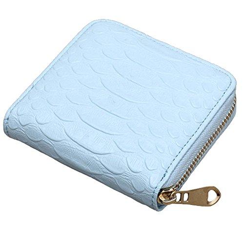 Borsa magica del supporto della carta del raccoglitore del cuoio del bifold mini della donna (LightPink) Azzurro