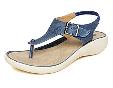 VENDOZ Women Stylish Denim Fabric Sandals - 36 EU