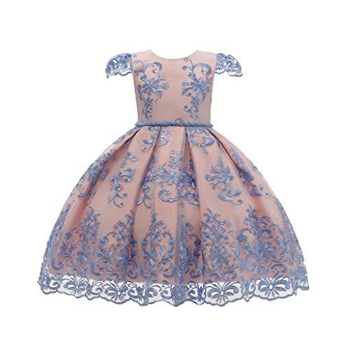 Livoral Mädchen Party Kleid Kleinkind Baby Kind Mädchen Blume Tüll Party Prinzessin Kleid formelle Kleidung(Rosa,7-8 Jahre)