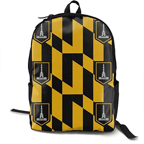 Algebra Daypack mit Seitentaschen, Reisetasche und Sport-Rucksack, große Kapazität, für Schule und Schule, Diebstahlschutz, Mehrzweck, für Mädchen und Jungen Baltimore Maryland Usa Flag Einheitsgröße
