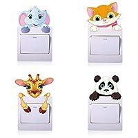 Sarett 4pcs Unicorn Stars Light Switch Wall Sticker Children