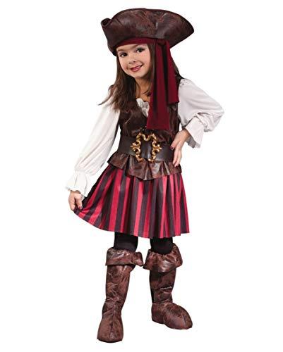 Kleinkind Kostüm Piraten Kapitän - Horror-Shop Tapfere Piratin Kleinkinder Kostüm für Fasching, Karneval & Mottopartys L