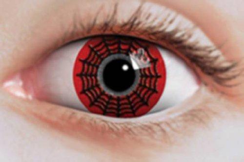 Preisvergleich Produktbild Originelle Kontaktlinsen schwarz-rotes Spinnennetz