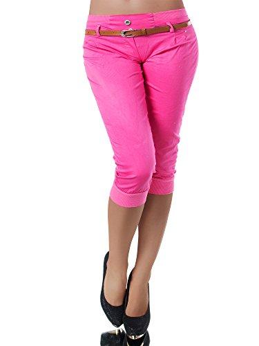 Diva-Jeans N945 Damen Stoffhose Chino Capri Hose Sommerhose Pumphose Gürtel Normaler Bund, Farben:Pink, Größen:XL