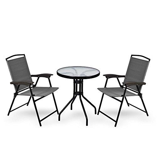 WUBOX Gartentisch +2 Stühle Glas Rund Balkontisch Bistrotisch Gartenmöbel Terasse 60cm, Farbe:grün/braun