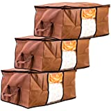 Amazon Brand - Solimo 3 Piece Non Woven Fabric Underbed Storage Bags, Large, Brown