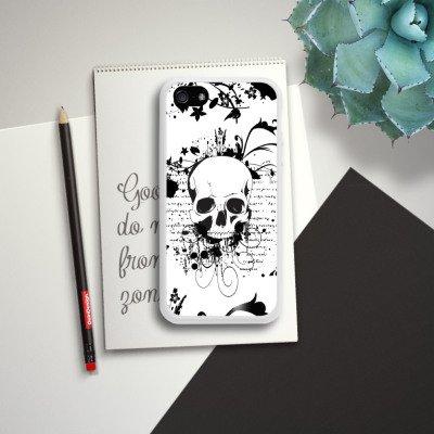 Apple iPhone 4 Housse Étui Silicone Coque Protection Crâne Crâne Ornements Housse en silicone blanc