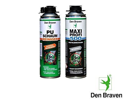 Den Braven Profi SET 1 x MAXI Profi 1KB2-MAXI - Pistolenschaum á 500ml Wandfugen Fenster Hohlräume Decken + 1x PU Reiniger 500ml -- ideal zur Wärme- und Schalldämmung, isoliert, verfüllt, exakt dosierbar