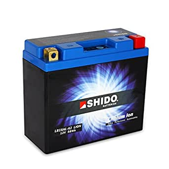 Batterie 12V 16AH(4.8) YB16AL-A2, Lithium ion Shido DIN 51616 pour Ducati 350 SS 350J | Ducati 400 SS | Ducati 600 Monster M300 | Ducati 600 Monster >FG02961 | Ducati 600 Monster FG02962> | D