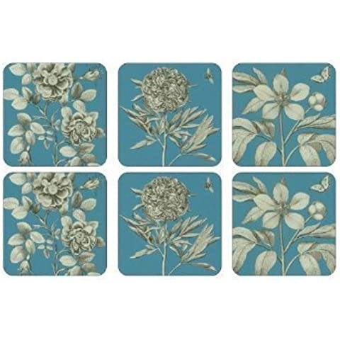 PIMPERNEL Etchings & Roses Blue Coasters square set of 6 by Pimpernel