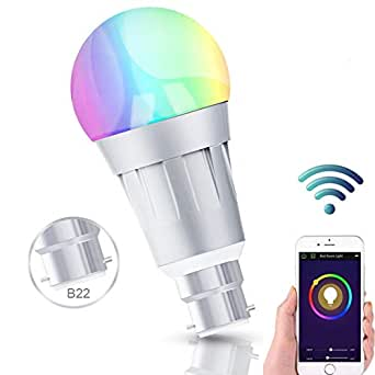 Ampoule LED Couleur,Wifi Ampoule Connectée Compatible avec Amazon Alexa Echo Contrôle par Smartphone (iOS/Android),avec Changement de Couleur,Choix de scène,APP Contrôle à Distance (B22-1PACK-2)
