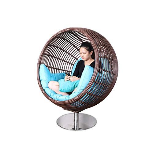 Rocking chair Fauteuil à Bascule en rotin pivotant à 360° avec Coussins Bleu