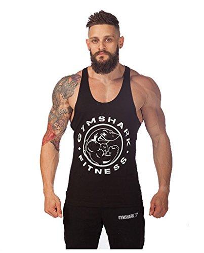Lendoo da uomo cotone Bodybuilding Sports Vest Black Shark X-Large