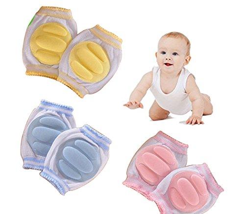 Hillento atmungsaktive elastische Unisex Säugling Kleinkind Baby Knieschoner Knie Ellenbogen Pads kriechen Sicherheit Schutz, Säuglinge, Jungen, Mädchen, Kinder, 3 Paare, zufällige Farbe